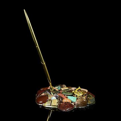 Ручка на подставке с ящеркой Уральские самоцветы 130*130