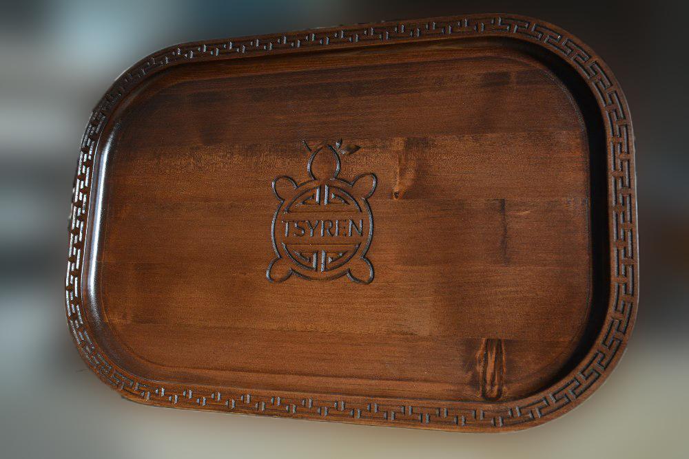 Поднос подарочный с надписью из кедра, 430*290