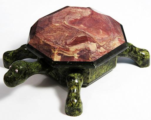 Шкатулка Черепаха из змеевика и яшмы, 170*115*70